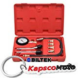 Biltek Engine Cylinder Compression Tester Gauge Kit Professional Mechanics Gas Engine + KapscoMoto Keychain