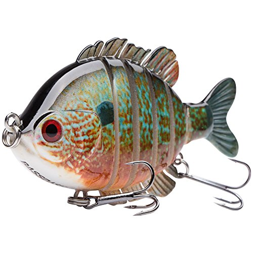 Bassdash SwimPanfish Multi Jointed Panfish Bluegill Swimbaits Topwater Hard Bass Fishing Crank Lure 3.5