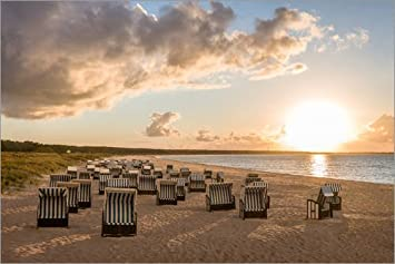 Strandkorb sonnenuntergang  Posterlounge Acrylglasbild 120 x 80 cm: Strandkörbe an der Ostsee im ...
