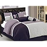 Chezmoi Collection 7-Piece Quilted Patchwork Duvet Cover Set, Queen, Lavender Purple