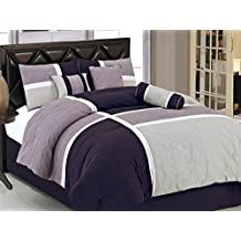 Chezmoi Collection 7-Piece Quilted Patchwork Comforter Set, California King, Lavender Purple