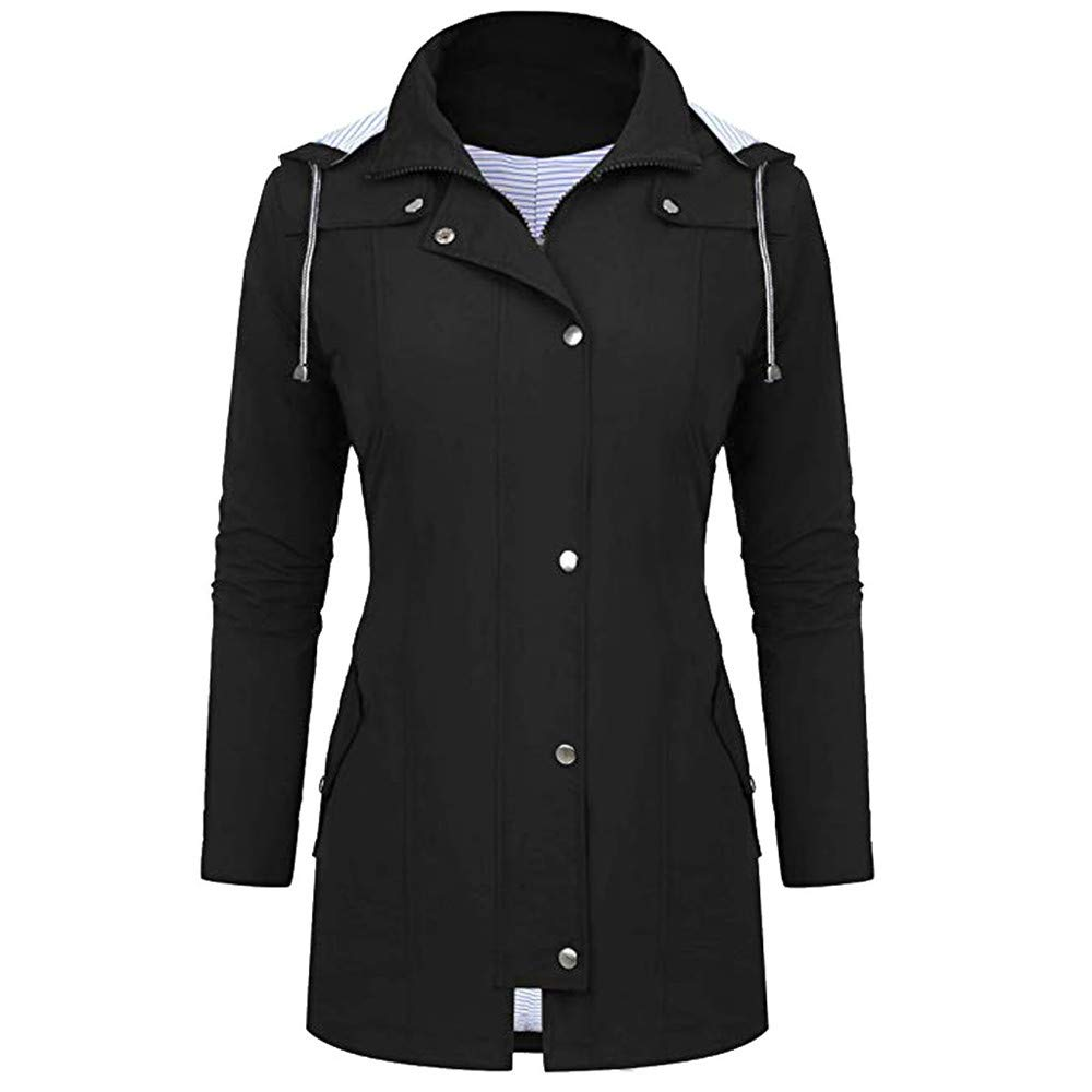 Aiserkly Women Plus Size Outdoor Waterproof Lightweight Rain Jacket Hooded Raincoat Ladies Trench Coat Parka Jacket Outwear Travelling Windbreaker Overcoat Open Front Coat 10-24 UK
