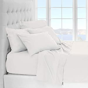 Ivy Union Microfiber Sheet Set - Queen Size Bedding - Breathable & Soft - Deep Pocket (Queen, White)