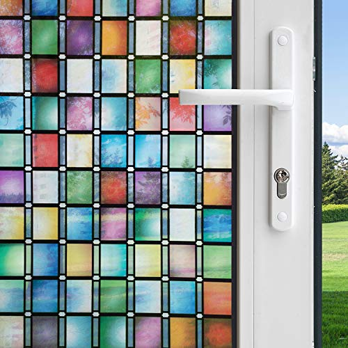 (Gila Privacy Control Stained Glass Atlantis Decorative Residential Window Film No Glue No Adhesive Static Cling DIY 3ft x 6.5ft (36in x 78in) (19.5 sq ft))