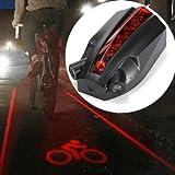 5 LED 2 Laser Beams Intelligent Bike Logo Safety Rear Tail Light