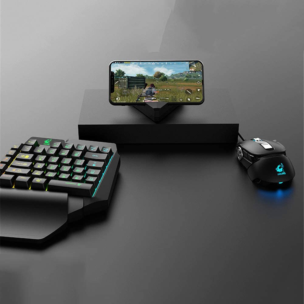 Mobile Fps Game Controller Mouse and Keyboard Converter to Eat Chicken Artifacts Portable Mini Gaming Keyboard 3-Piece One-Handed Keyboard Set