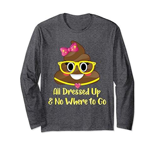 51nKp0UaFZL Unisex Cute Miss Poo Emoji Glasses Pink Bow Poop Long Sleeve Shirt Medium Dark Heather