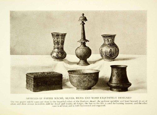 1915 Print Indian Artifact Vase Perfume Kashmir Box Historical Image Engraving - Original Halftone Print (Wall Vase Valley)