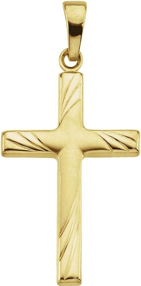 FB Jewels 14K Yellow Gold 24x16mm Cross Pendant
