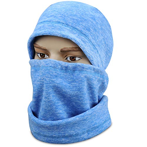 mysuntown Ski Face Mask Balaclava Fleece Hood for Men Women,Winter Neck Warmer Windproof Cap for Snowboarding Running Cycling (Sky Blue)