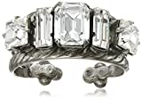"Sorrelli ""Crystal"" Geometric Crystal Double Clear Band Ring, Size 7-9"