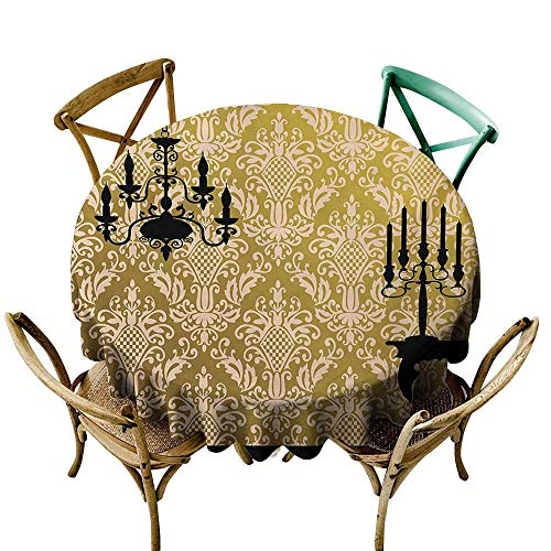 StarsART Restaurant Table Cover Damask,English Country House Damask Motif on Wall and Chandelier Silhouettes Renaissance,Yellow Black D70,Tablecloth for Rectangle - Mini Grace Chandelier