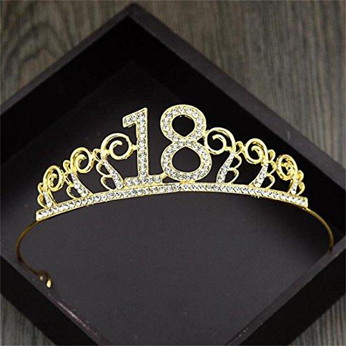 FUMUD Crystal Birthday Tiara Rhinestone Princess Crown Cake Baking Decoration Crown 18 Birthday Crown Hairband (Gold)]()