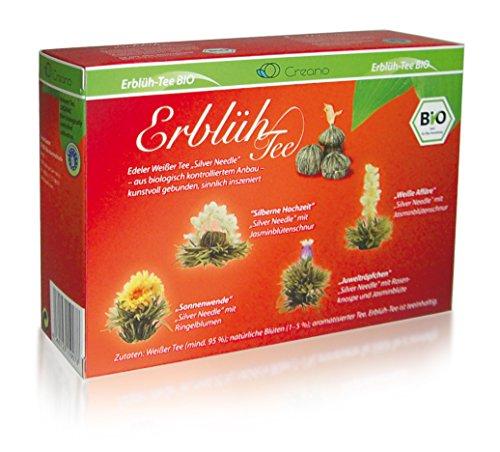Creano ErblühTee Bio Teeblumen Mix - 8 Teekugeln in 4 Sorten in Bio Qualität | Weißer Tee