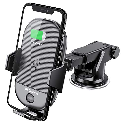 (Wireless Car Charger Mount [Qi Certified] FLOVEME Fast Car Wireless Charger 15W/10W/7.5W Auto Clamping Dashboard/Air Vent Car Phone Holder Compatible for iPhone Xs Max/XR/X Samsung S10 Plus S9 Note 9)