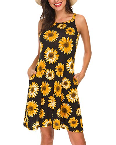 Summer Casual Sleeveless Retro Print Halter Beach Short Dress Mini Dresses Floral Black Size ()