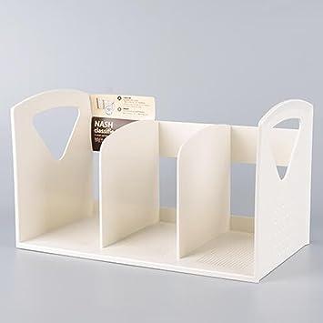 QIANGDA Librerías 3 Sujetalibros Estantería Libro De Escritorio Oficina Revistero Antideslizante Lavable Resistente A Los Arañazos