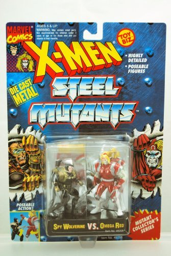 Spy Wolverine vs Omega Red - Die Cast Metal Figures - Rare - X-Men Steel Mutants - Poseable - Collector Series - Toy Biz - Marvel - Limited Edition - Mint - Collectible by (Poseable Diecast Toy)