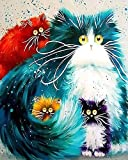 Newsight DIY Oil Painting Paintworks Paint by Number for Kids and Adults (Framed Four Color cat)