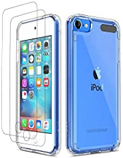 iPod Touch 7 Case Clear with 2 Screen Protectors,iPod 6 Case,iPod 5 Case, ULAK Slim Soft TPU Bumper Shockproof Hybrid Hard Cover for Apple iPod Touch 5th/6th/7th Generation, Clear