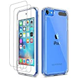 ipod 5 bumpers with clear back - ULAK iPod Touch 7 Case, iPod Touch 6 5 Case with 2 Screen Protectors, Clear Slim Soft TPU Bumper Hard Case for Apple iPod Touch 5 / 6th / 7th Generation (Latest Model 2019 Released), Clear