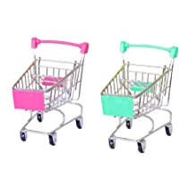 tuhanying-us 2 PCS Mini Metal Shopping Cart Supermarket Handcart Trolley Kid's Toys for Office Home Novelty Decoration…