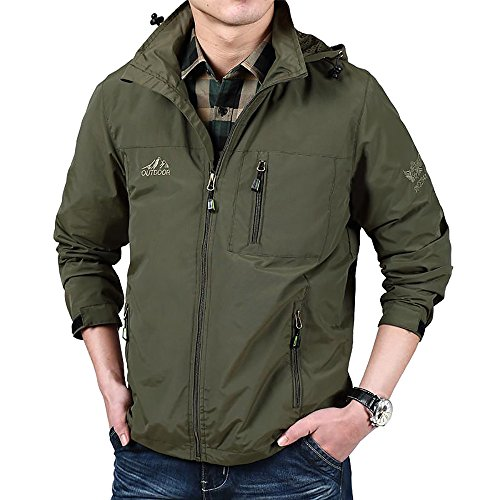 Varsity Dance Costumes - ELEPHANT DANCING Mens Lightweight Jacket Waterproof Fishing Hiking Outdoor Sportswear, Green