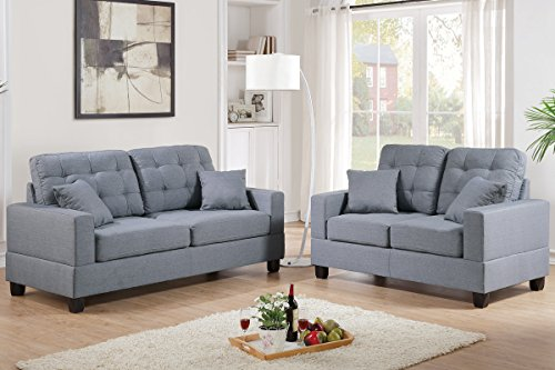 Poundex F7858 Bobkona Aria Linen-Like 2 Piece Sofa and Loveseat Set, Grey