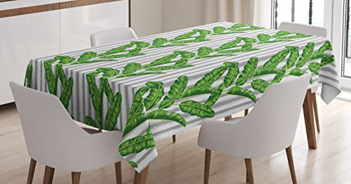 Banana Striped Satin (Botany Tablecloth by Ambesonne, Banana Leaves on Vertical Paintbrush Striped Background Eco Beauty Print, Dining Room Kitchen Rectangular Table Cover, 60 W X 90 L Inches, Fern Green Grey White)