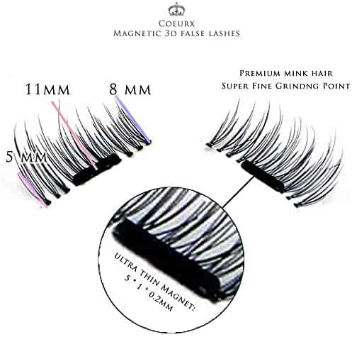 New False MAGNETIC Eyelashes by CoeurX, 1 Pair 4 Pieces   0.2mm Ultra Thin Fake Mink Eyelashes for Natural Look   Reusable Best Fake Lashes   Cruelty Free   Perfect for Deep Set Eyes & Round Eyes