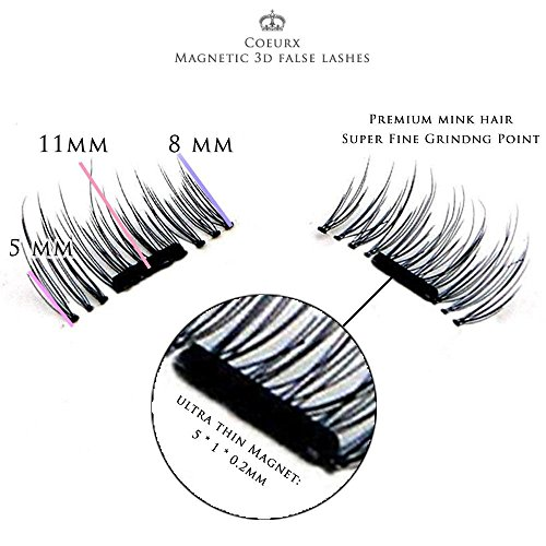 New False MAGNETIC Eyelashes By CoeurX 1 Pair 4 Pieces 02mm Ultra Thin Fake Mink Eyelashes For Natural Look Reusable Best Fake Lashes Cruelty Free Perfect For Deep Set Eyes Round Eyes