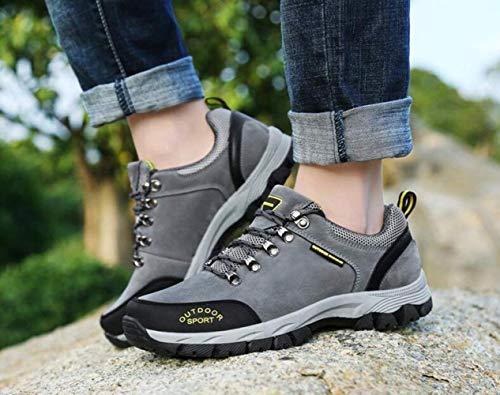 Zapatos Herramientas Botas Hombre Trekking Suela Con Gris Gz Cuero Exteriores Excursionismo Goma Invierno De Correr Ciclismo Otoño Para Zapatillas Cordones Calzado wZX1qa