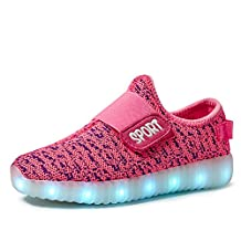 VILOCY Kids Boys Girls Upgraded USB Charging 7 Colors LED Light up Breathable Athletic Sports Shoes Flashing Sneakers