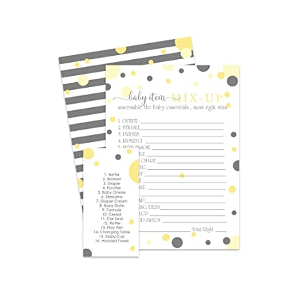 Yellow and Grey Baby Shower Word Scramble Game | 25 Pack