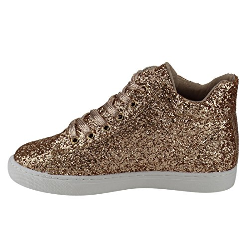FOREVER FP65 Womens Glitter Sparkling Lace Up Ankle High Fashion Sneakers Rose Gold bkUUQ9i8m