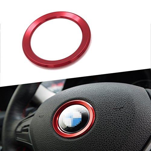 (Thor-Inst Steering Wheel Center Decor Logo Ring Trim For BMW New 3 Series 320 GT5 Series X1 X 3 X4 X 5 X6 E46 E30 E34 E36 E39 E53 E60 E90-Multimedia audio button start car sticker(Red))