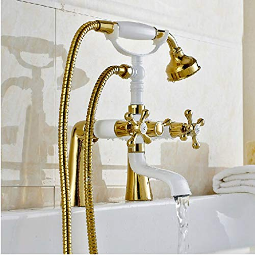 ChenMengYu Luxury Golden & White Deck Mount Two Handles Bathtub Mixer Faucet Telephone Style Tub Filler,Multi ()
