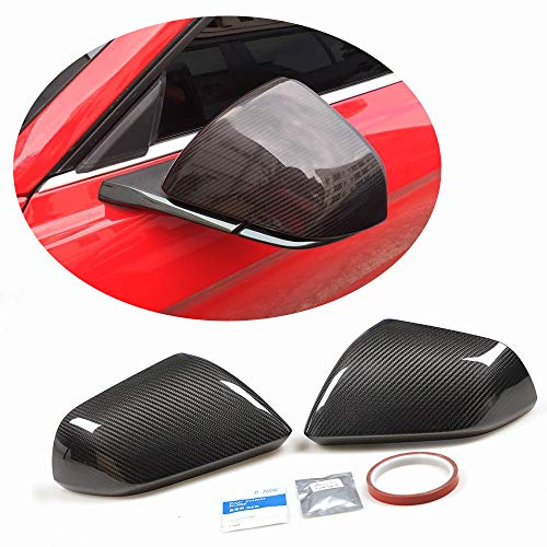 MCARCAR KIT Fits Ford Mustang 2015-2018 Real Carbon Fiber Rear Mirror Cover Rearview Side Caps W/O Turn Signal ()