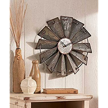 Metal Windmill Rustic Country Primitive Clock Wall Decor by KNL Store