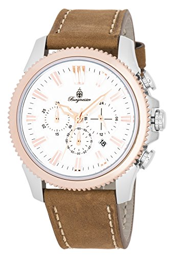 Burgmeister Men's Quartz Stainless Steel and Leather Casual Watch, Color:Brown (Model: BMT03-985)