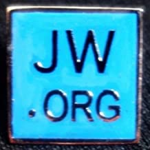 PIN LAPEL JW.Org Bronze Silver Plated SQUARE BLUE WATCHTOWER JAH CLIP J.W.