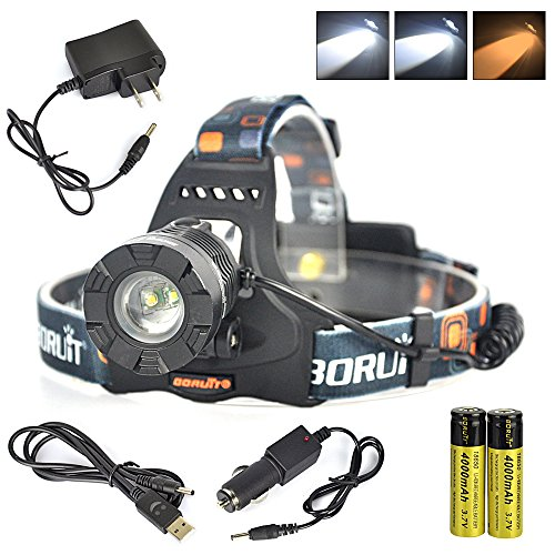 Boruit Super Bright Adjustable LED Headlamp Rechargeable 3 Modes Include Yellow Light for Camping, Running,Hiking, Reading, Cycling,with 2*18650 Rechargeable Batteries+AC Charger+Car Charger+USB Cable