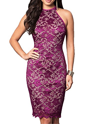 WOOSUNZE Women's Elegant Sleeveless Floral Lace Vintage Midi Cocktail Party Dress (Small, Purple)