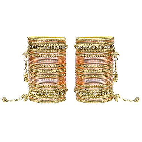 MUCH-MORE 86 Bangles Set Of Multi Colour Amazing collection Of Latkhan Bangles Set (Peach, 2.8)