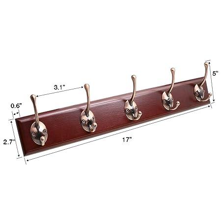 Amazon.com: SZAT PRO - Perchero de pared (5 ganchos, madera ...