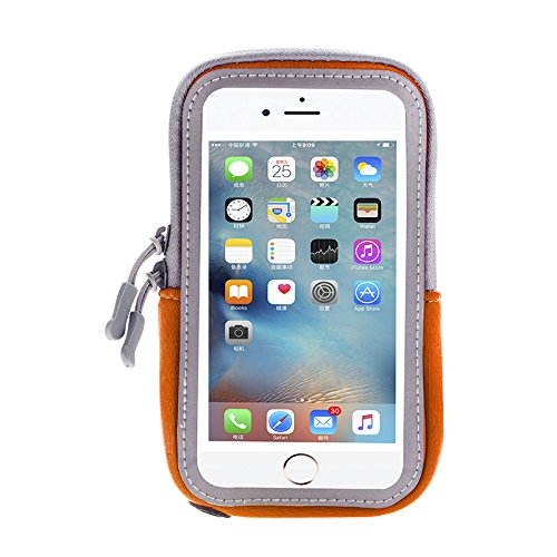 Workout Sport Fitness Running Armband Cell Phone Pouch Case Wallet Compatible iPhone Xs Max/iPhone 8 Plus/Motorola Moto Z3 Play / Z2 Force / G6 Play/OnePlus 6T /Google Pixel 3XL (Orange)