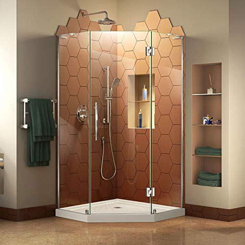DreamLine Prism Plus 42 in. x 74 3/4 in. Frameless Neo-Angle Shower Enclosure in Chrome with White Base Dreamline Neo Shower Enclosure