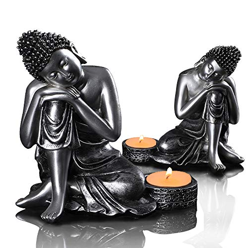 Buddha Head Statue Candle Holder,2 Pack Candle Stand/Holder Table Decorative Figurine for Good Luck & Happiness