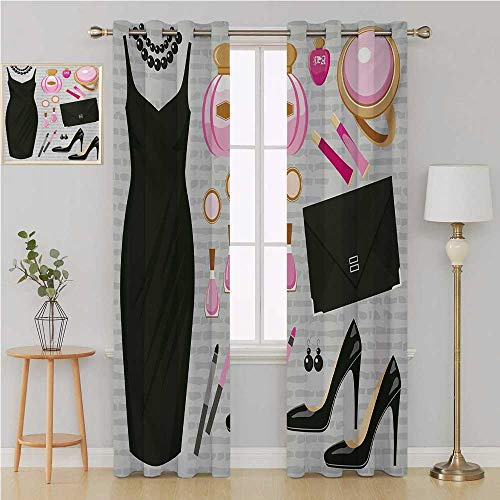 (Benmo House Heels and Dresses Grommet Curtain Thermal Insulated Blackout Curtains,Black Smart Cocktail Dress Perfume Make Up Clutch Bag Room Decor for Boys 120 by 96 Inch Black Pale Pink Pale Brown)