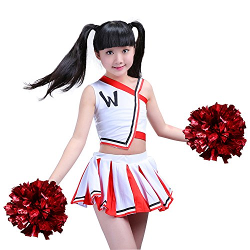 DREAMOWL Girls Cheerleader Uniform Outfit Costume Fun Varsity Brand Youth Red and White (10-11 Years) Childs Cheerleader Outfit